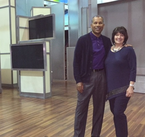 Dr. Kevin Smith, Houston facial plastic surgeon and migraine specialist, and Kim, a migraine treatment patient at The Doctors TV show.
